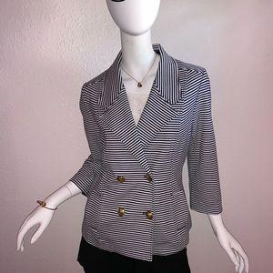 CAbi Black & White Striped Crop Sleeve Blazer - L